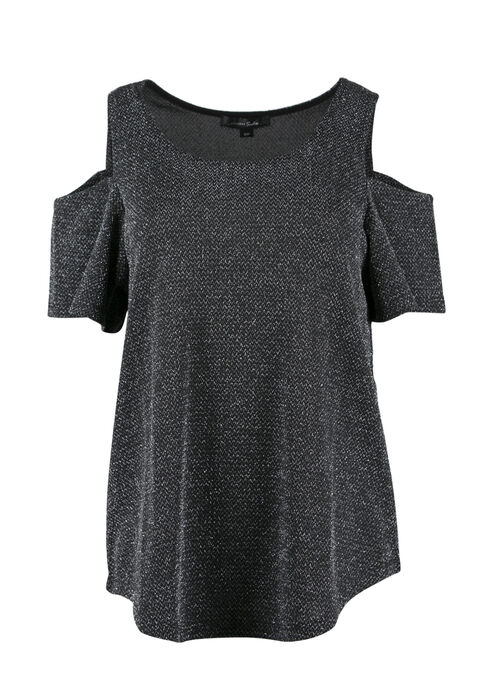 Ladies' Metallic Cold Shoulder Top, GUNMETAL, hi-res