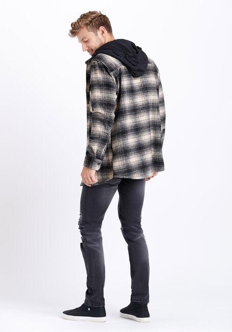 Men's Hooded Plaid Flannel Work Jacket, SAND, hi-res