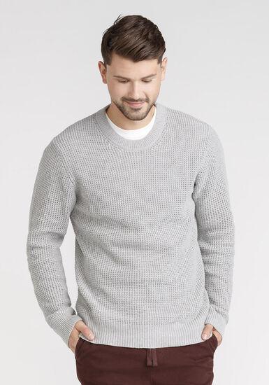 Men's Shaker Knit Sweater, GRANITE, hi-res