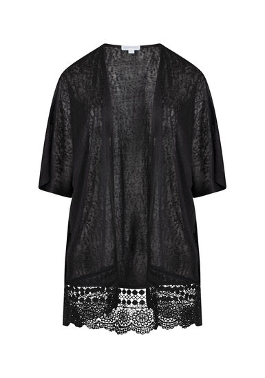 Women's Lace Hem Cardigan, BLACK, hi-res