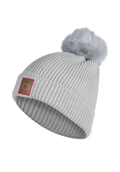 Ladies' Canada Pom Pom Hat, GREY, hi-res