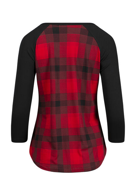 Women's Plaid Baseball Tee, BLK/RED, hi-res