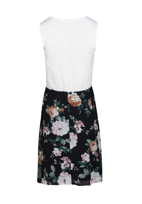 Women's White Lace Floral Skater Dress, IVORY, hi-res