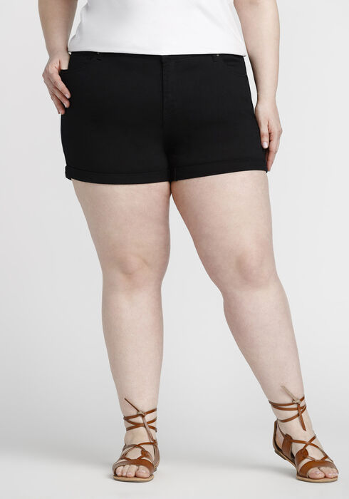 Women's Plus Size Coloured Not-So-Short Short, BLACK, hi-res