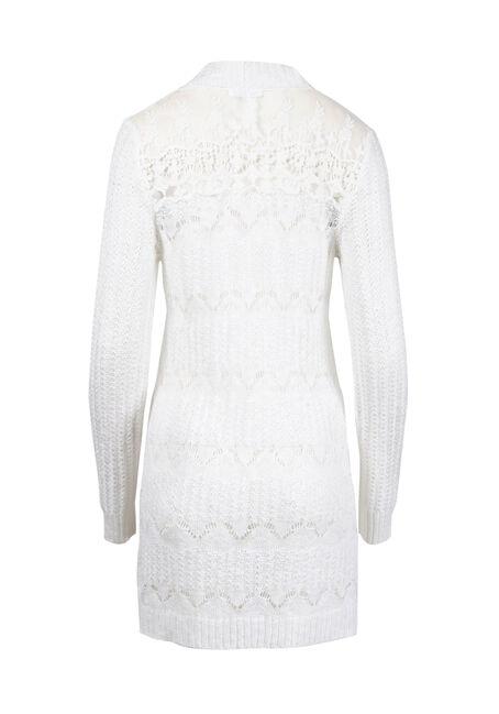 Women's Lace Insert Pointelle Cardigan, WHITE, hi-res