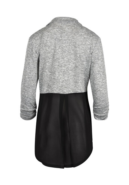 Ladies' Chiffon Back Blazer, BLK/WHT, hi-res