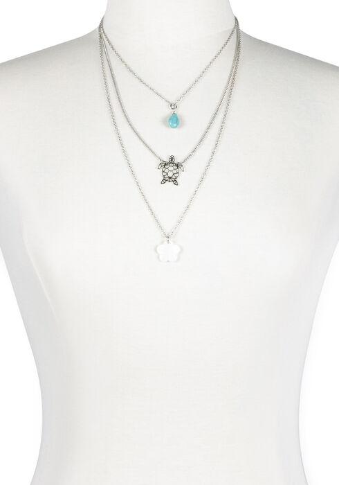 Women's Layered Turtle Necklace, RHODIUM, hi-res