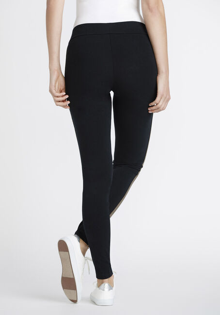 Women's Side Stripe Legging, BLACK, hi-res