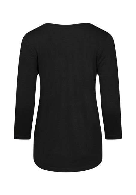 Women's 3/4 Sleeve Tee, BLACK, hi-res