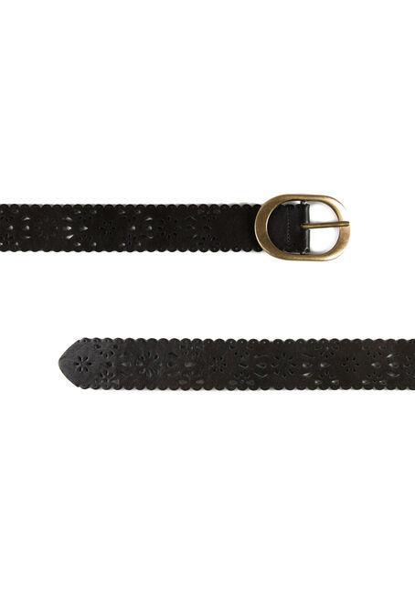 Women's Scalloped Edge Belt, BROWN, hi-res