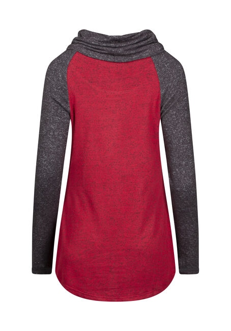 Women's Cowl Neck Colour Block Top, RED, hi-res