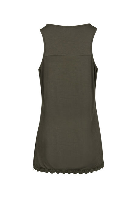 Ladies' Crochet Yoke Tank, MOSS STONE, hi-res