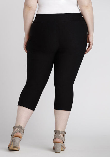 Women's Plus Size Pull On Black Capri Pant, BLACK, hi-res