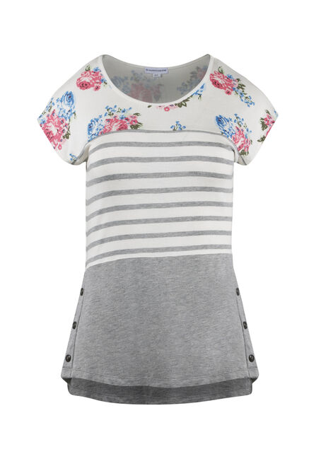 Ladies' Stripe Floral Color Block Top
