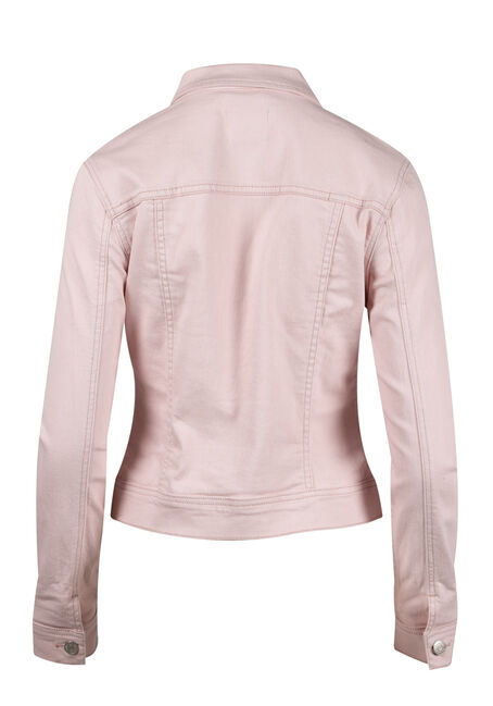 Women's Pink Distressed Jean Jacket, PINK, hi-res