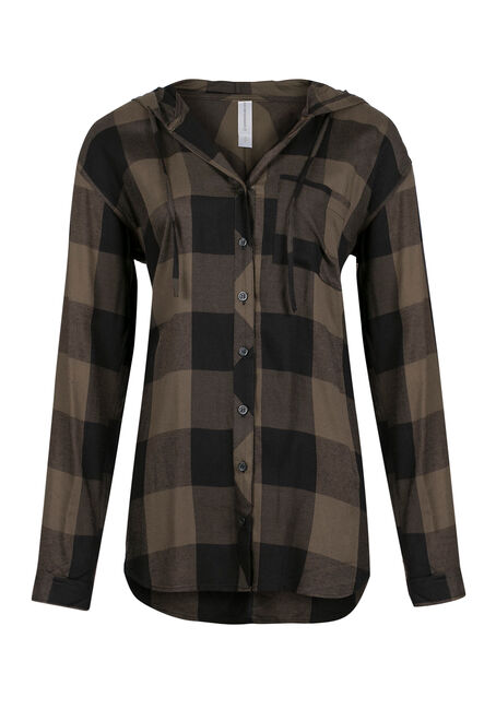 Ladies' Hooded Plaid Boyfriend Shirt