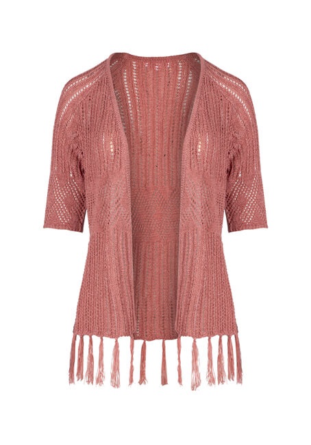 Ladies' Pointelle Fringe Cardigan
