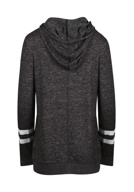 Women's Tulip Hem Football Hoodie, CHARCOAL, hi-res