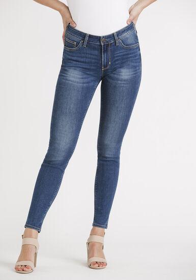 Women's Med Wash Skinny Jeans, DENIM, hi-res