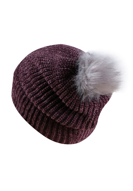 Ladies' Chenille Pom Pom Hat, EGGPLANT, hi-res