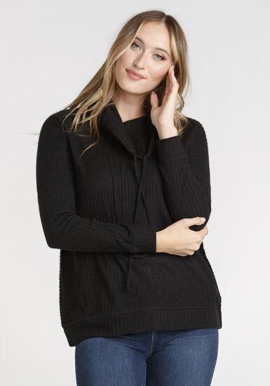 Women's Cowl Neck Top, BLACK, hi-res