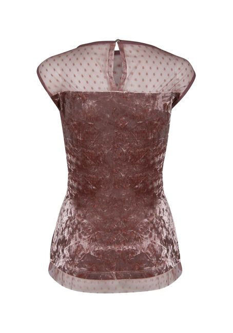 Ladies' Velvet Peplum Top, BLUSH, hi-res