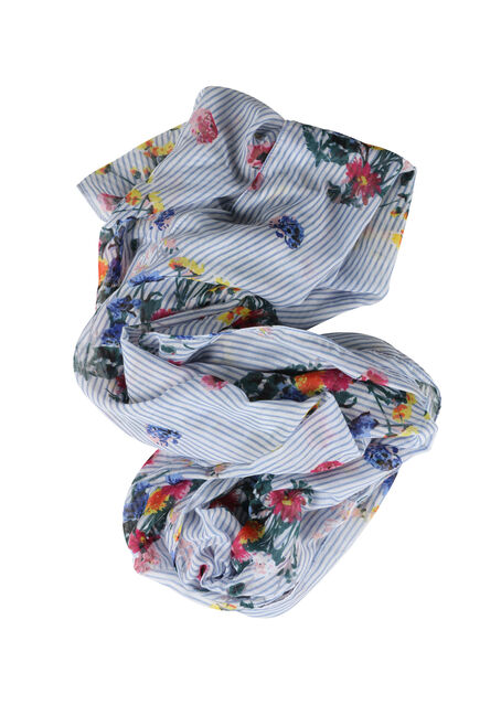Women's Floral & Striped Infinity Scarf