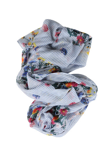 Women's Floral & Striped Infinity Scarf, WHITE, hi-res