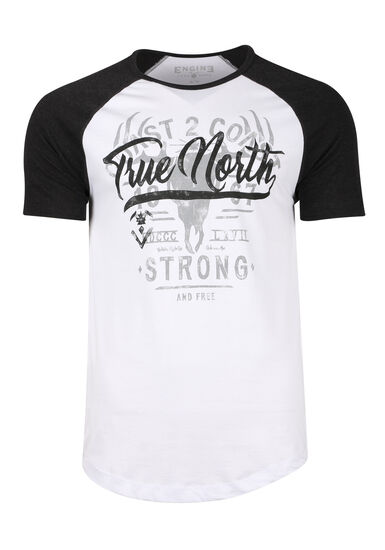 Men's True North Baseball Tee, WHITE, hi-res