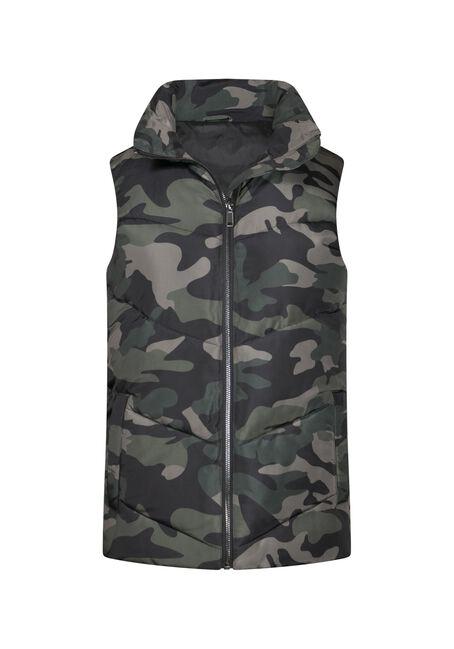 Women's Camo Puffer Vest, OLIVE, hi-res