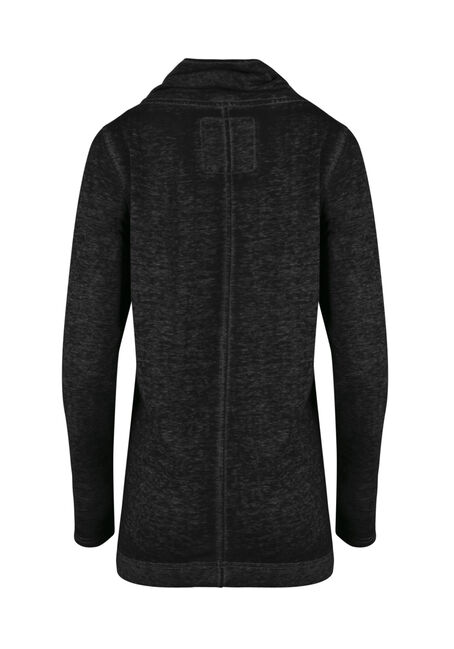 Women's Burnout Tunic Fleece Wrap, CHARCOAL, hi-res