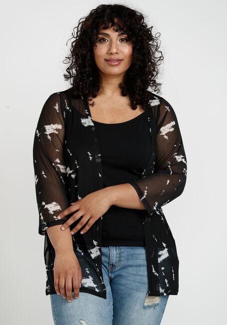 Women's Tie Dye Print Mesh Cardigan