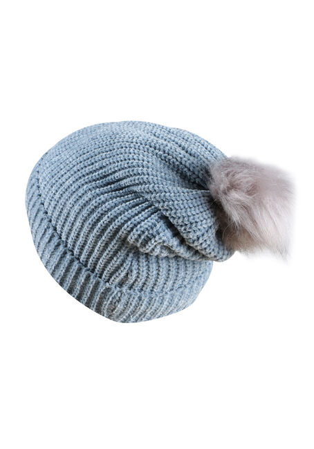 Ladies' Chenille Pom Pom Hat, SHADOW BLUE, hi-res