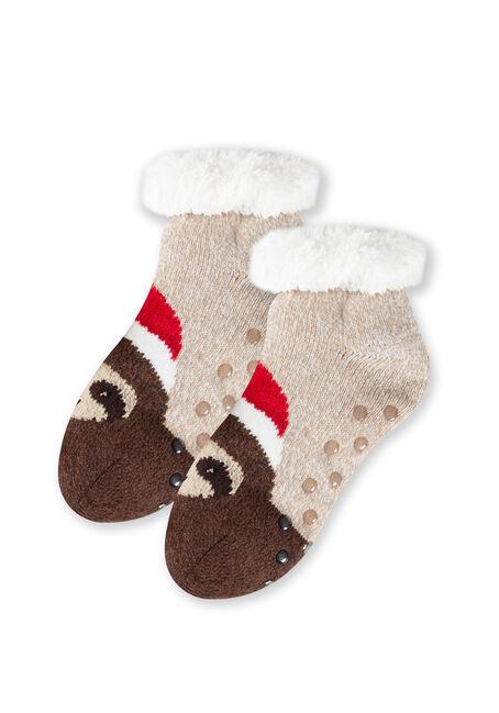 Women's Santa Sloth Slipper Socks, TAN, hi-res