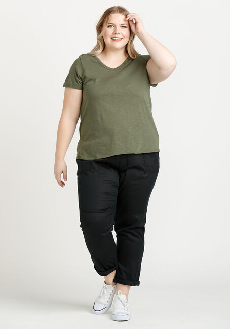 Women's Cuffed V-Neck Tee, MOSS, hi-res