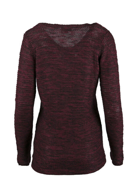 Ladies' Cable Knit Sweater, WINE, hi-res