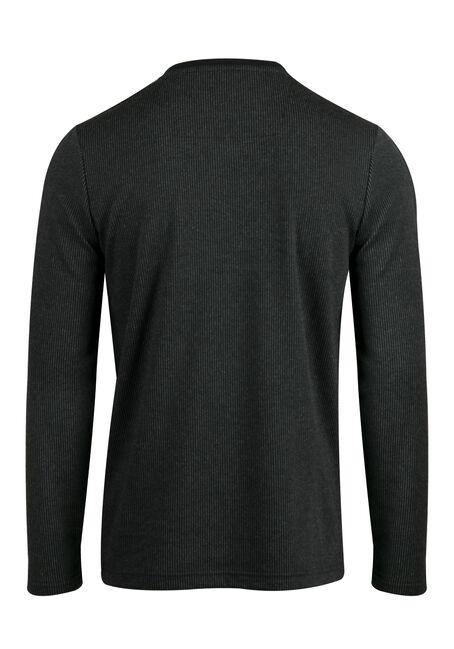 Men's V-neck Rib Knit Top, BLACK, hi-res