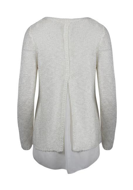 Ladies' Chiffon Back Shimmer Sweater, IVORY, hi-res