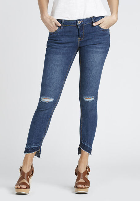 Ladies' Destroyed Step Hem Skinny Jean