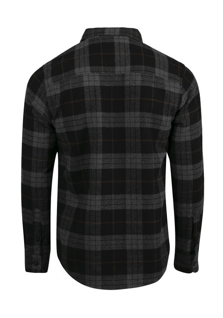 Men's Plaid Flannel Shirt, BROWN, hi-res