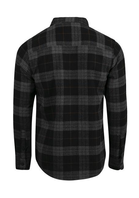 Men's Plaid Flannel Shirt, BROWN, hi-res
