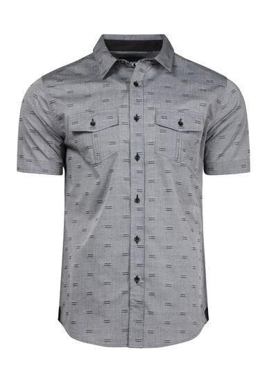 Men's Mini Stripe Textured Shirt, CHARCOAL, hi-res