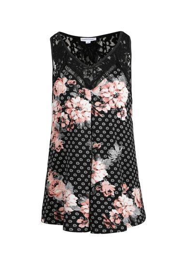 Women's Lace Insert Floral Tank, BLACK, hi-res