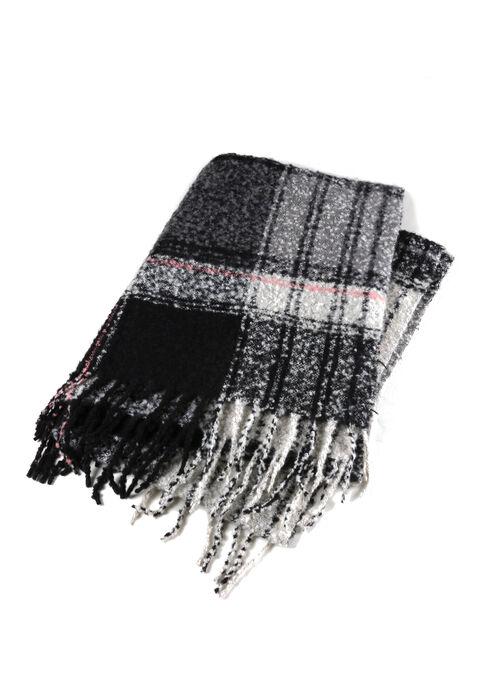 Ladies' Textured Blanket Scarf, BLACK, hi-res