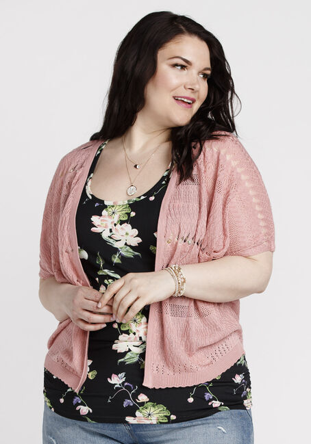 Women's Dolman Pointelle Cardigan, DUSTY PINK, hi-res