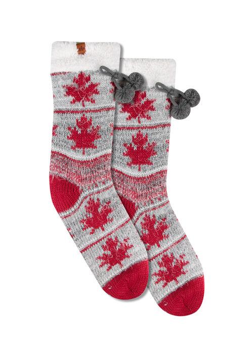 Ladies' Canada Slipper Socks, RED, hi-res