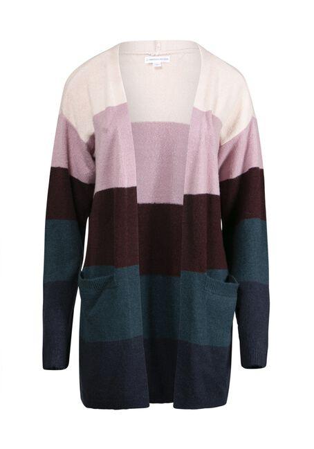 Women's Colour Block Cardigan, TEAL COMBO, hi-res