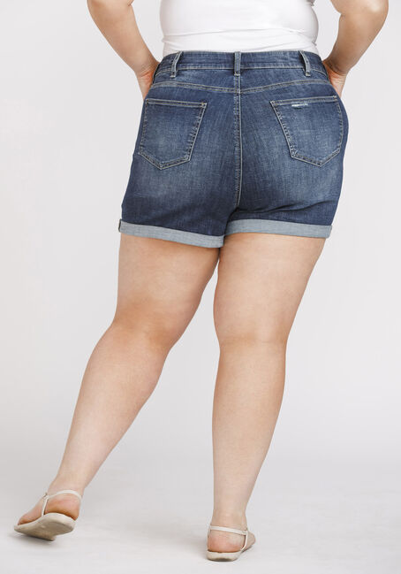 Women's Plus Size Exposed Button High Rise Cuffed Short, DARK WASH, hi-res