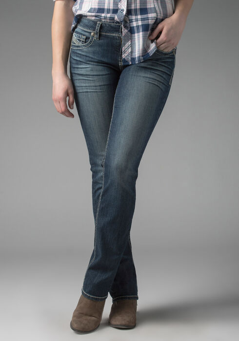 Ladies' Relaxed Straight Jeans, MEDIUM WASH, hi-res