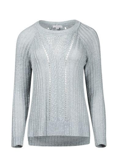 Women's Pointelle Sweater, MISTY BLUE, hi-res